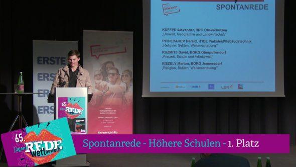Burgenländischer Redewettbewerb 2018 – 1. Platz Spontanrede – höhere Schulen
