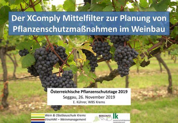 Der XComply Mittelfilter zur Planung von Pflanzenschutzmaßnahmen im Weinbau