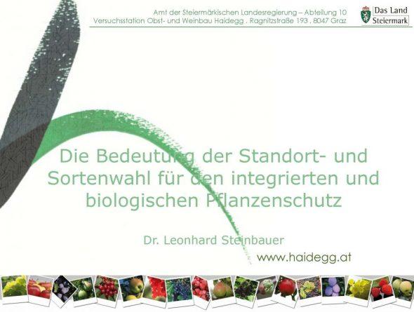 Die Bedeutung der Standort-und Sortenwahl für den integrierten und biologischen Pflanzenschutz