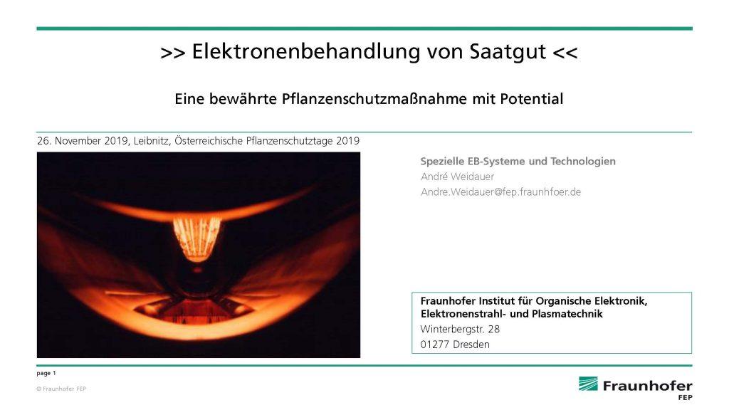 Elektronenbehandlung von Saatgut