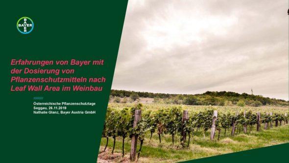 Erfahrungen von Bayer mit der Dosierung von Pflanzenschutzmitteln nach Leaf Wall Area im Weinbau