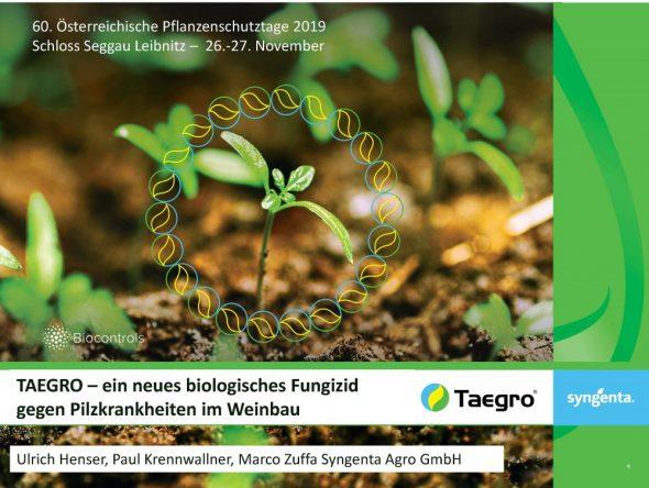 TAEGRO –ein neues biologisches Fungizid gegen Pilzkrankheiten im Weinbau